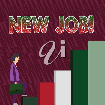 Conceptual hand writing showing New Job. Concept meaning recently having paid position regular employment with specific tasks Man Carrying a Briefcase in Pensive Expression Climbing Up