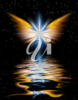 Shining Angel Wings above water surface.