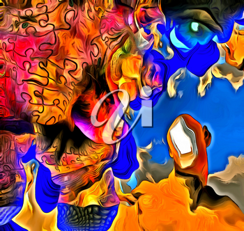 Surreal painting. Man with open door instead of face. Melting dimensions and puzzle pattern. Eye of God.