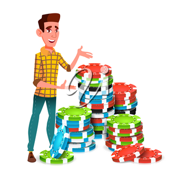 Young Gambler With Huge Stack Of Poker Chips Vector. Illustration
