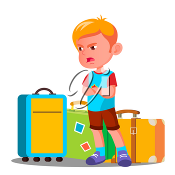 Angry Little Boy Is Crying Near Travel Bags Vector. Illustration