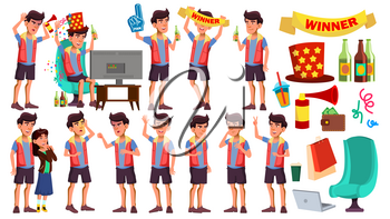 Asian Teen Boy Poses Set Vector. Leisure, Smile. Lifesstyle. Watching Sport Match With Beer. For Web, Brochure, Poster Design. Isolated Illustration