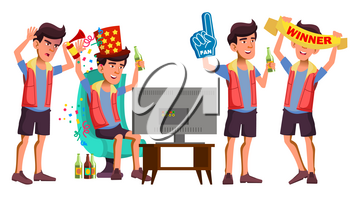 Asian Teen Boy Sport Fan Set Vector. Have Fun. Watching Sport Match. Competition. Beer. Life. For Presentation, Invitation, Card Design. Isolated Illustration