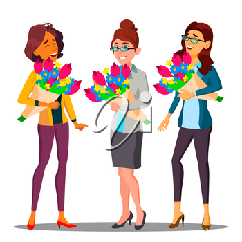 Happy Business Woman In Office With Bouquets Of Flowers Vector. Isolated Illustration
