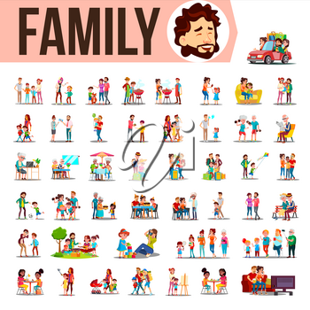 Family Set Vector. Family Members Spending Time Together At Home, Outdoor. Father, Mother, Son, Daughter, Grandmother, Grandfather. Lifestyle Situations Cartoon Illustration