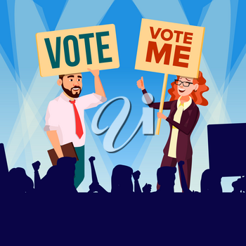 Agitation And Call To Vote Vector. Female And Male Characters Holding Broadsheet Vote Shouting During Political Meeting. Illustration