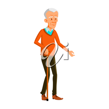 Old Man Poses Vector. Asian, Chinese, Japanese. Elderly People. Senior Person. Aged. Friendly Grandparent. Banner, Flyer, Brochure Design. Isolated Cartoon Illustration