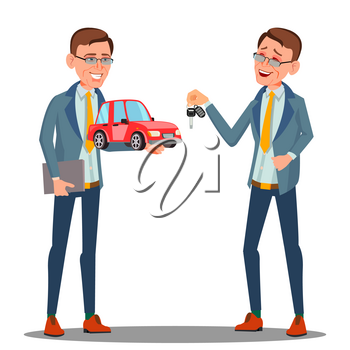 Smiling Insurance Agent Holding A Car In Hand Vector. Illustration