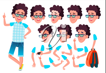 Teen Boy Vector. Teenager. Emotional, Pose. Face Emotions, Various Gestures. Animation Creation Set. Isolated Flat Cartoon Illustration
