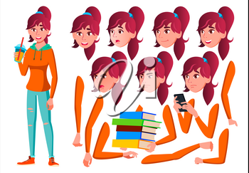 Teen Girl Vector. Teenager. Friendly, Cheer. Face Emotions, Various Gestures. Animation Creation Set. Isolated Flat Cartoon Character Illustration