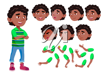 Black, Afro American Boy, Child, Kid, Teen Vector. Joy. Comic. Face Emotions, Various Gestures. Animation Creation Set Isolated Cartoon Character Illustration