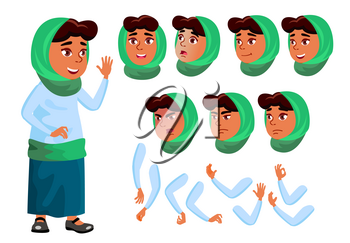 Arab, Muslim Teen Girl Vector. Teenager. Positive Person. Face. Children. Face Emotions, Various Gestures. Animation Creation Set. Isolated Flat Character Illustration