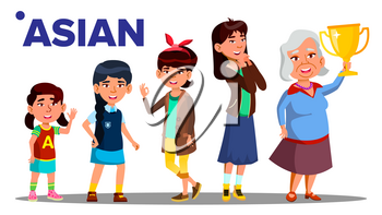 Asiatic Generation Female Set People Person Vector. Asian Mother, Daughter, Granddaughter, Baby. Vector. Isolated Illustration
