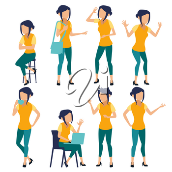 Woman Set Vector. Modern Gradient Colors. People In Action. Creative Person. Design Element. Isolated Flat Illustration