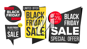 Black Friday Sale Banner Set Vector. Website Stickers, Black Web Page Design. Up To 50 Percent Off Friday Badges. Isolated Illustration