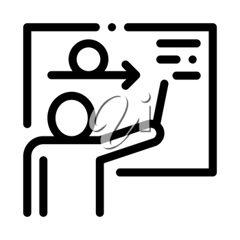 Man Silhouette Near Blackboard Agile Sign Vector Icon Thin Line. Agile Rocket And Document, Gear And Package, Loud-speaker And Stop Watch Concept Linear Pictogram. Monochrome Contour Illustration