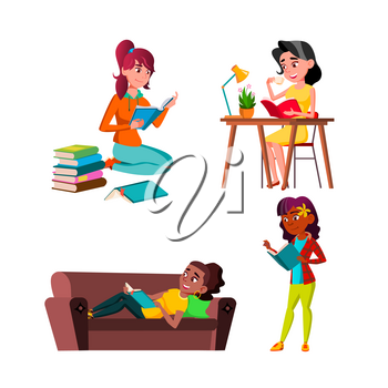 Teen Girls Reading Educational Book Set Vector. Teenagers Lady Read Education Book At Table And On Couch, Sitting On Floor And In Library. Characters Knowledge Flat Cartoon Illustrations