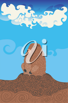 Greeting card design for Groundhog day with cute marmot.