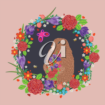 Greeting card design for Groundhog day with cute marmot and flowers.