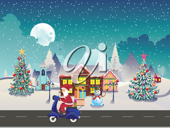 Cartoon Santa Claus rides scooter with gifts on night winter town.