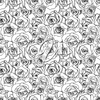 A lot of beautiful black outline rosebuds, seamless pattern