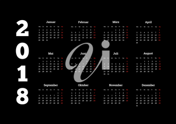 2018 year simple white calendar on german language on black background