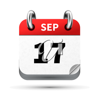 Bright realistic icon of calendar with 17 september date on white