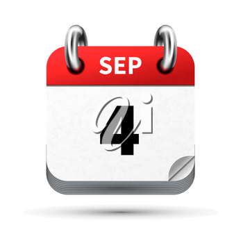 Bright realistic icon of calendar with 4 september date on white