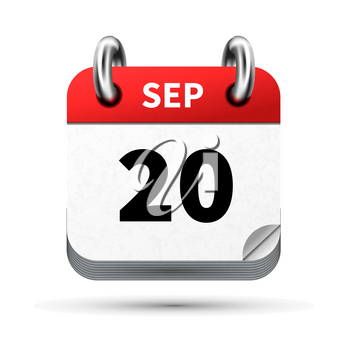 Bright realistic icon of calendar with 20 september date on white