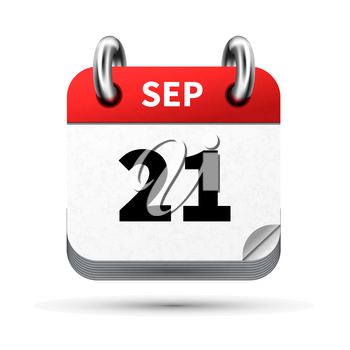 Bright realistic icon of calendar with 21 september date on white