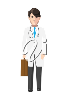Doctor in white robe with medicine case and stroboscope, flat character isolated on white