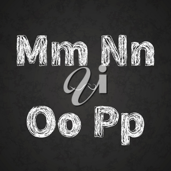 Retro hand drawn alphabet letters drawing with white chalk on black chalkboard, vintage M, N, O, P letters