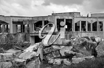 Old marble processing factory. Black and white.