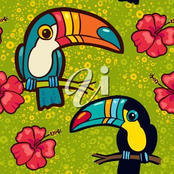 Toucan and Hibiscus. Tropical Green seamless pattern. Vector ornament in cartoon style. American  bill, ramphastida. Texture for scrapbooking, wrapping paper, web, textile, surface design, fashion