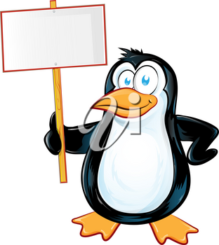 pinguin character cartoon with signboard.illustration