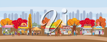 Outdoor festival with food trucks, awnings, tents, ice cream, coffee, hot dog, flowers, bakery, walking people, men and women buying and selling goods at park autumn