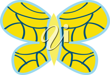 Yellow butterfly with blue ornaments vector illustration on white background.