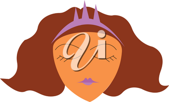 A beautiful princess with her jeweled tiara vector color drawing or illustration