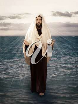 Jesus Walks on Water with the light behind him