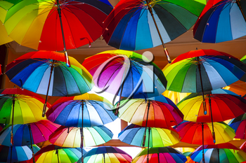 Rainbow gay pride protection symbol in hanging umbrellas