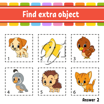 Find extra object. Educational activity worksheet for kids and toddlers. Game for children. Happy characters. Simple flat isolated vector illustration in cute cartoon style.