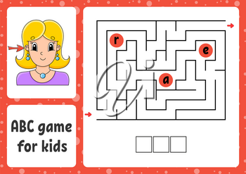 ABC maze for kids. Answer ear. Rectangle labyrinth. Activity worksheet. Puzzle for children. Cartoon style. Logical conundrum. Color vector illustration.