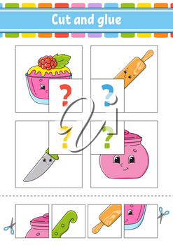 Cut and glue. Set flash cards. Color puzzle. Education developing worksheet. Activity page. Game for children. Funny character. Isolated vector illustration. Cartoon style.