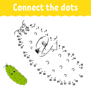 Dot to dot game. Draw a line. For kids. Activity worksheet. Coloring book. With answer. Cartoon character.