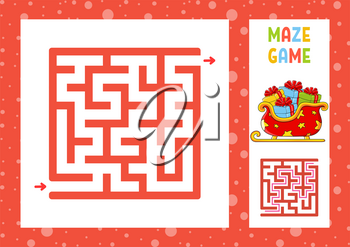 Square maze. Game for kids. Puzzle for children. Christmas theme. Happy character. Labyrinth conundrum. Color vector illustration. Find the right path. With answer. Isolated vector illustration.