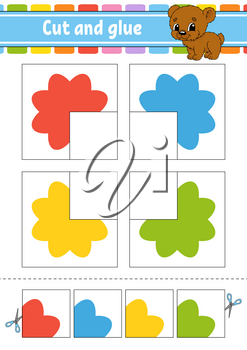 Cut and glue. Four flash cards. Color puzzle. Education developing worksheet. Activity page. Game for children. Funny character. Isolated vector illustration. Cartoon style.